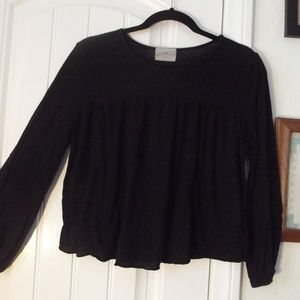 Anthropologie Black Peasant Tee Crop Tla Blouse M